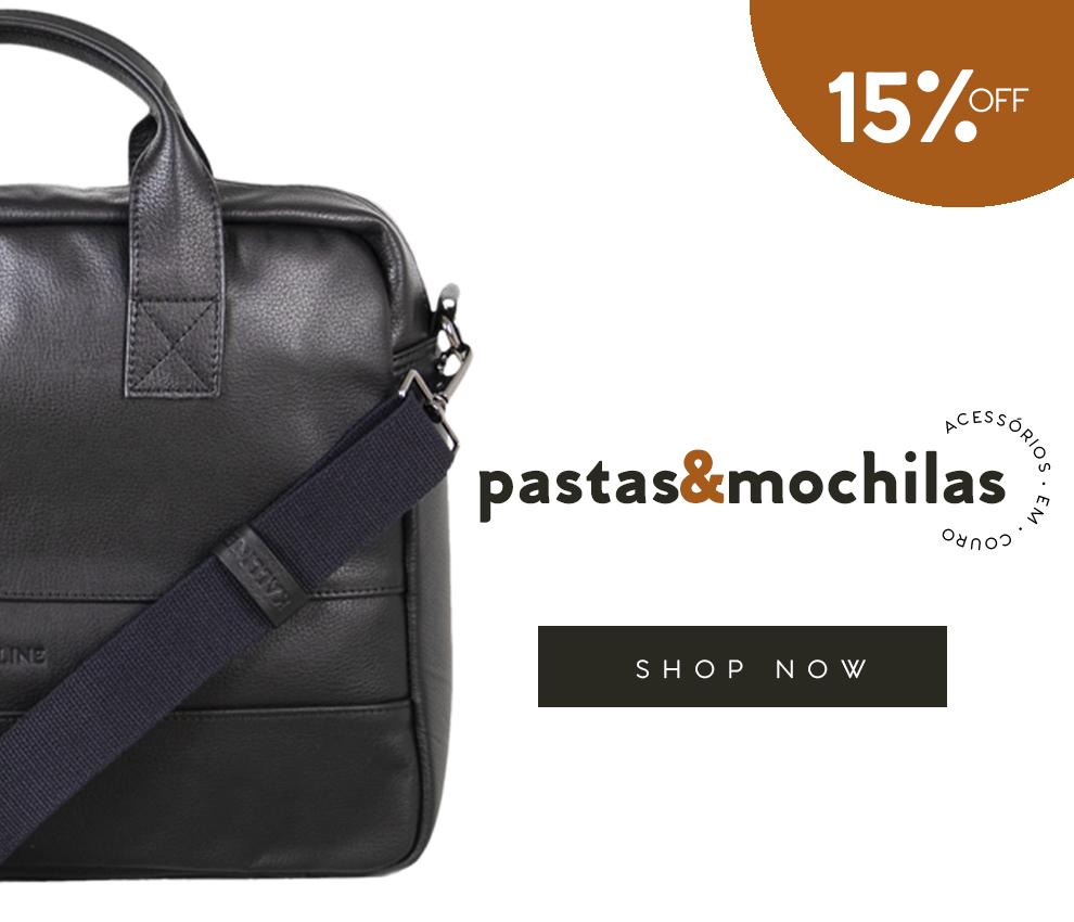 Pastas e mochilas com 15% de desconto
