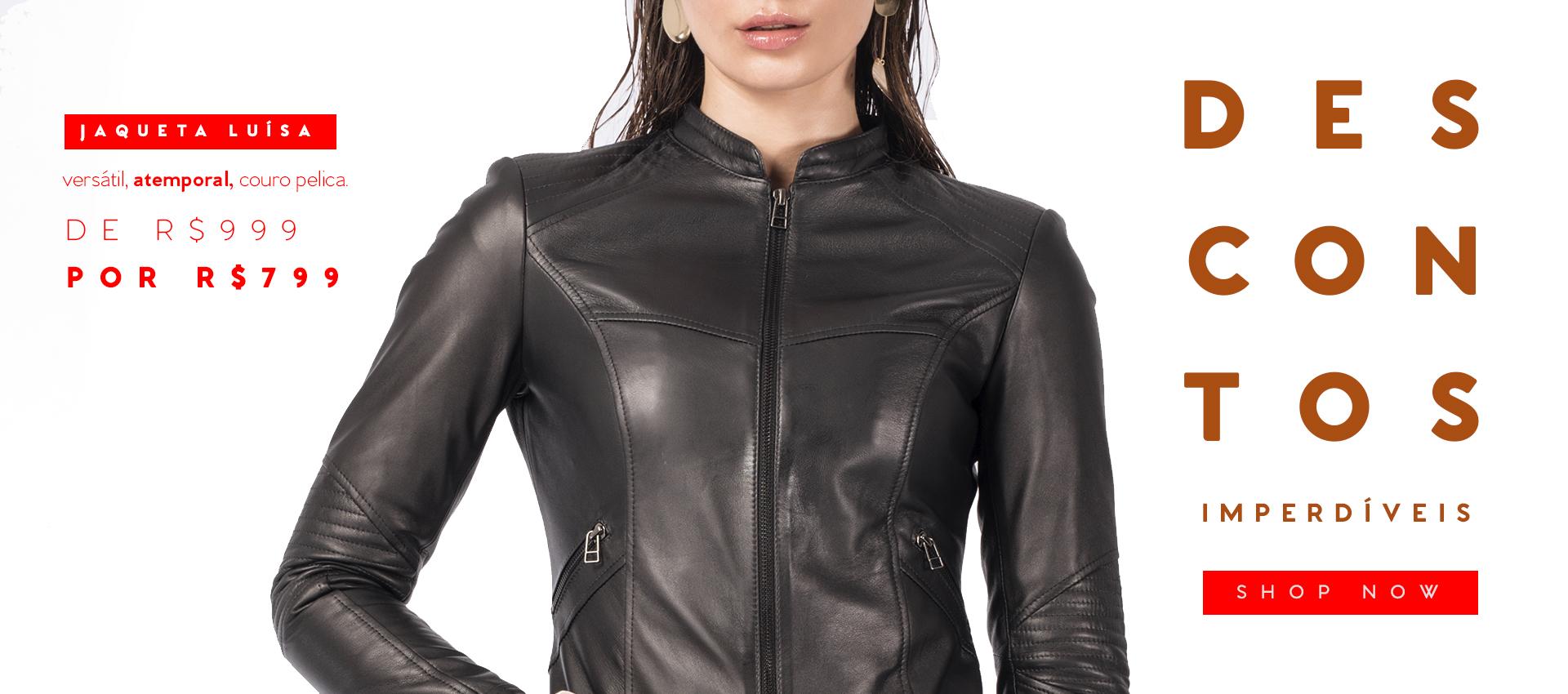 desconto jaqueta feminina couro